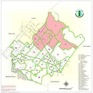 MOMS Club of Irvine - Northwood boundaries in pink.